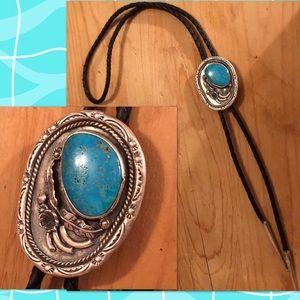 Vintage Sterling Silver Navajo Bennett Bolo Tie